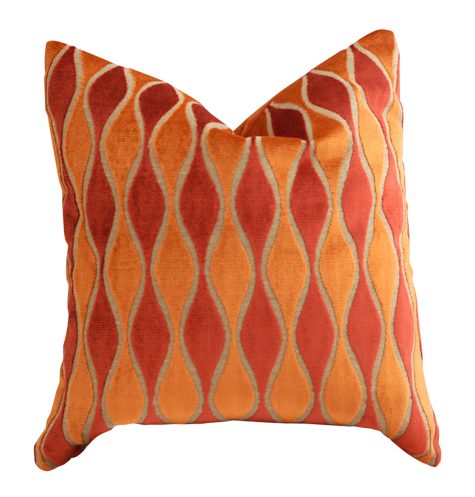 Trovati Decorative Pillow - Velvet Stripe High Beam Orange  - 2