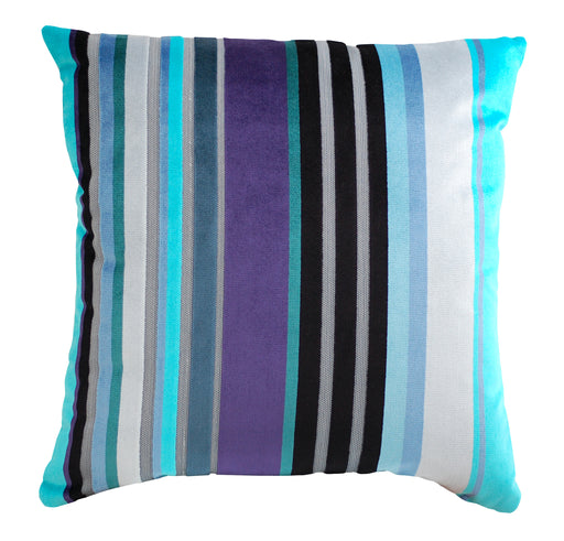 Trovati Decorative Pillow - Velvet Stripe Blueberry Pie Blue Turquoise Aqua  - 1
