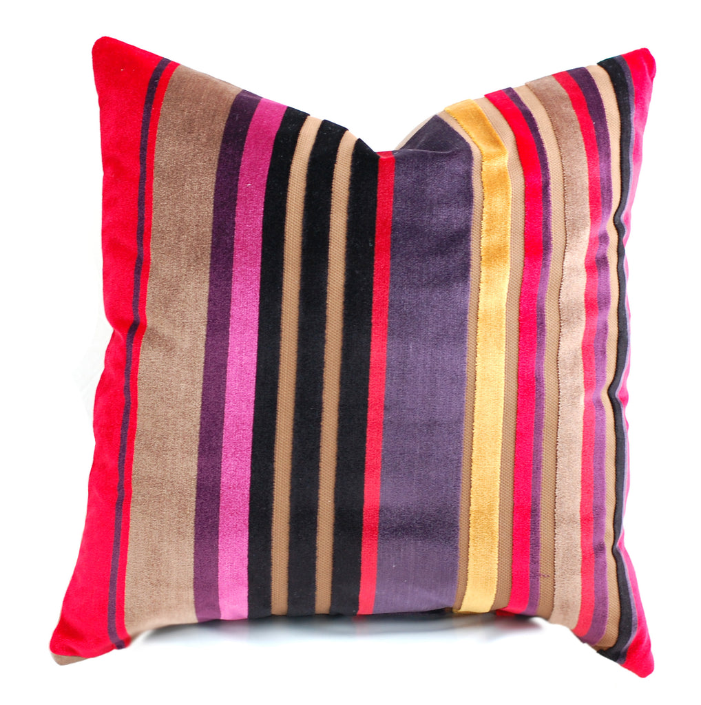 Trovati Decorative Pillow - Velvet Striped Cake Red Brown Pink Gold  - 2