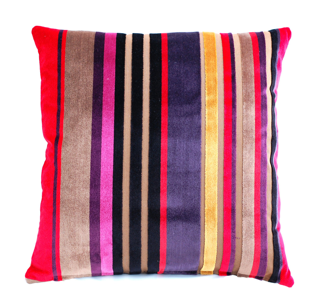 Trovati Decorative Pillow - Velvet Striped Cake Red Brown Pink Gold  - 1