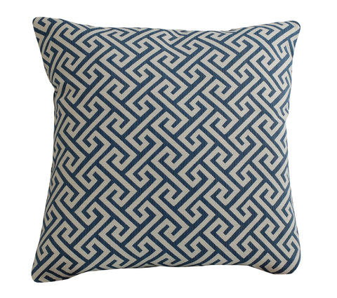 Trovati Greek Key Decorative Pillow- Navy