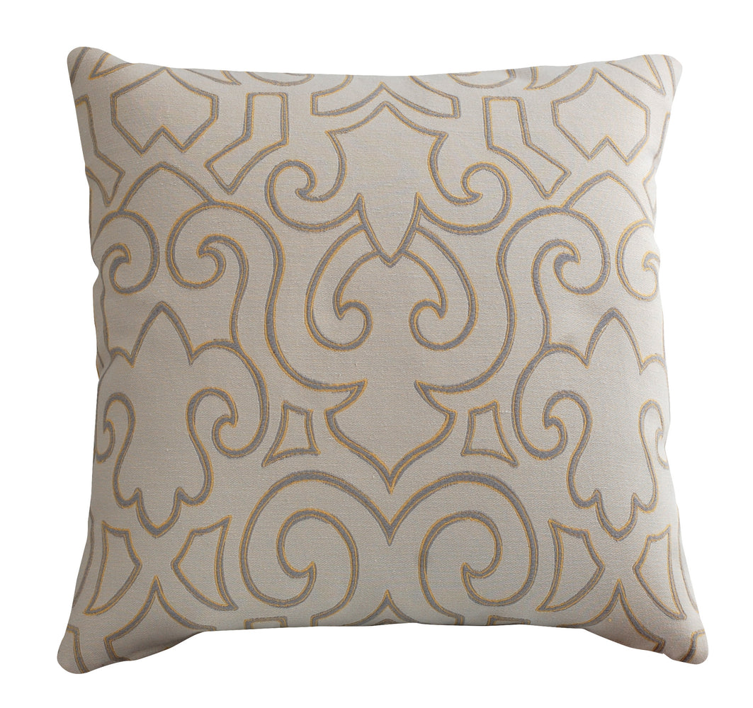 Trovati Decorative Pillow - Sesame Fleur Cream Gray Gold  - 1