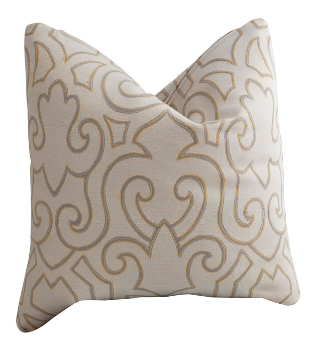 Trovati Decorative Pillow - Sesame Fleur Cream Gray Gold  - 2