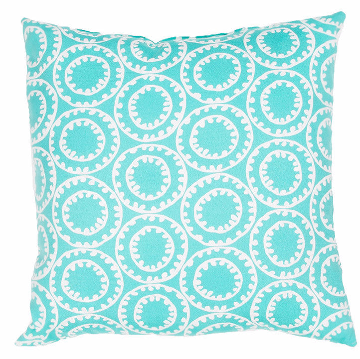 Jaipur Ring A Bell Outdoor Pillow- Turquoise - Trovati
