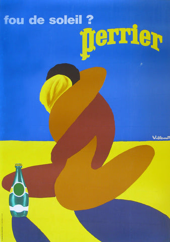 "Perrier ""Kiss"" Authentic Vintage Poster by Bernard Villemont"