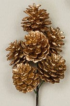 Golden Pinecones Floral Pick | Seasonal Decor | Trovati Studio