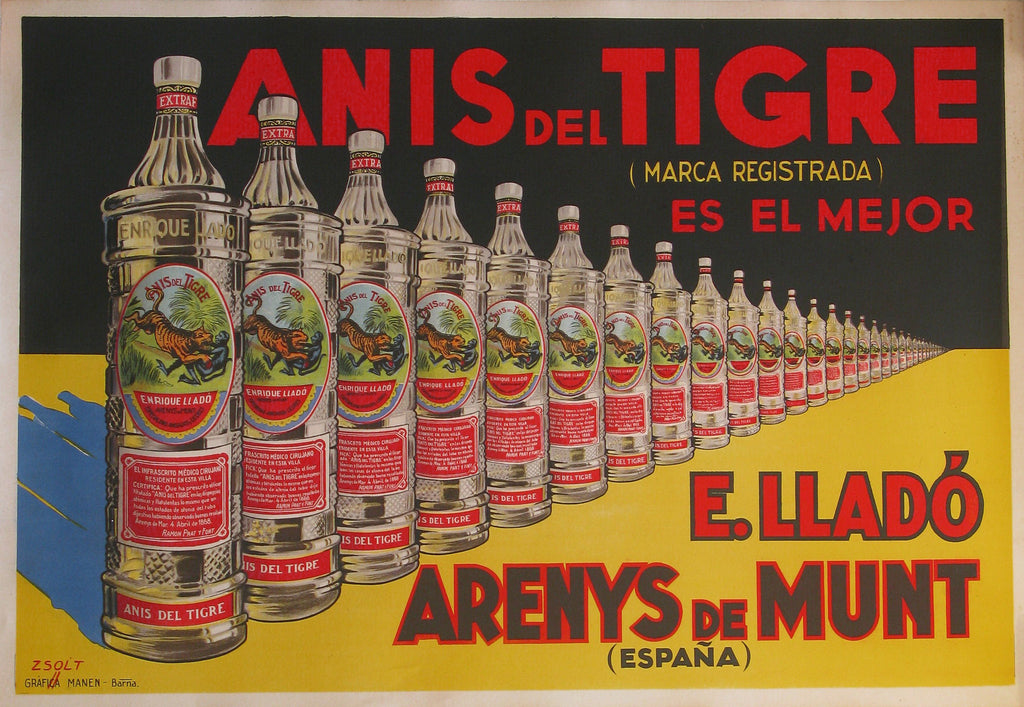 Authentic Vintage Poster - Anis del Tigre by Zsolt | Trovati