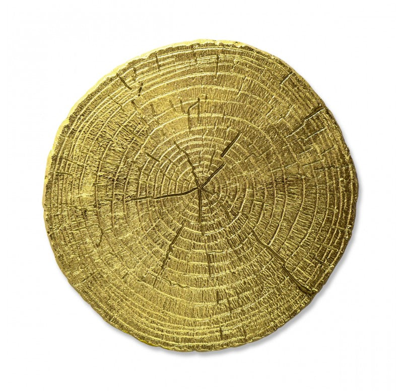 Zen Wall Hanging | Tree Slice Disc Wall Art - Gold | Gold Leaf Design | Trovati Studio