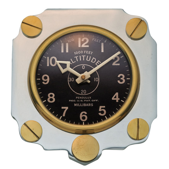 Pendulux Vintage Reproduction Altimeter Wall Clock- Aluminum - Trovati