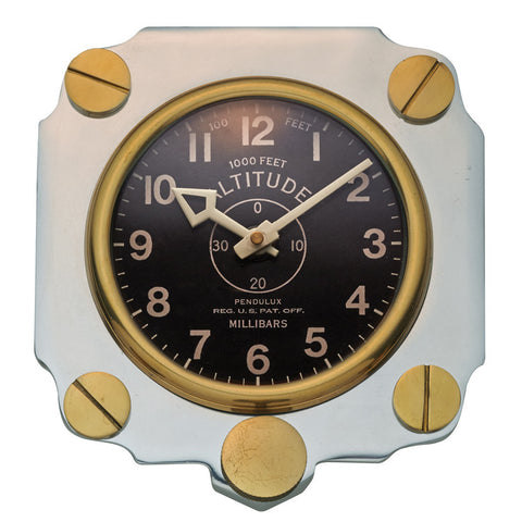Pendulux Vintage Reproduction Altimeter Wall Clock- Aluminum