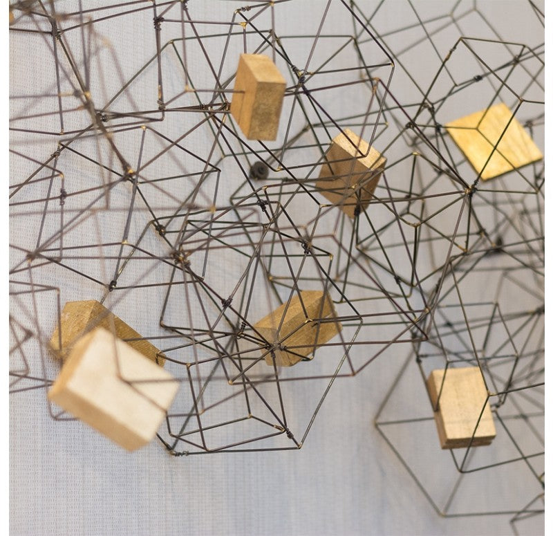 Gold Leaf Design Group Wire Cube Sculpture w/ Gilded Wood Blocks - Trovati