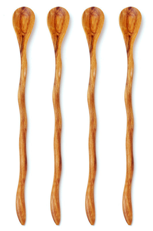 Swahili Fair Trade Wild Olive Wood Wavy Cocktail Spoons