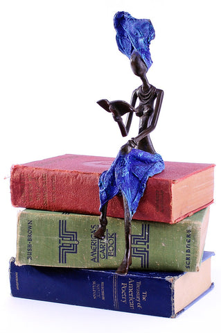 Swahili African Modern Burkina Faso Bronze Literate Lady Sculpture