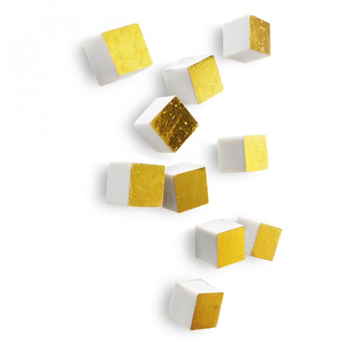 Gold Leaf Design Gold Cube Wall Accents (Set of 20) - Trovati