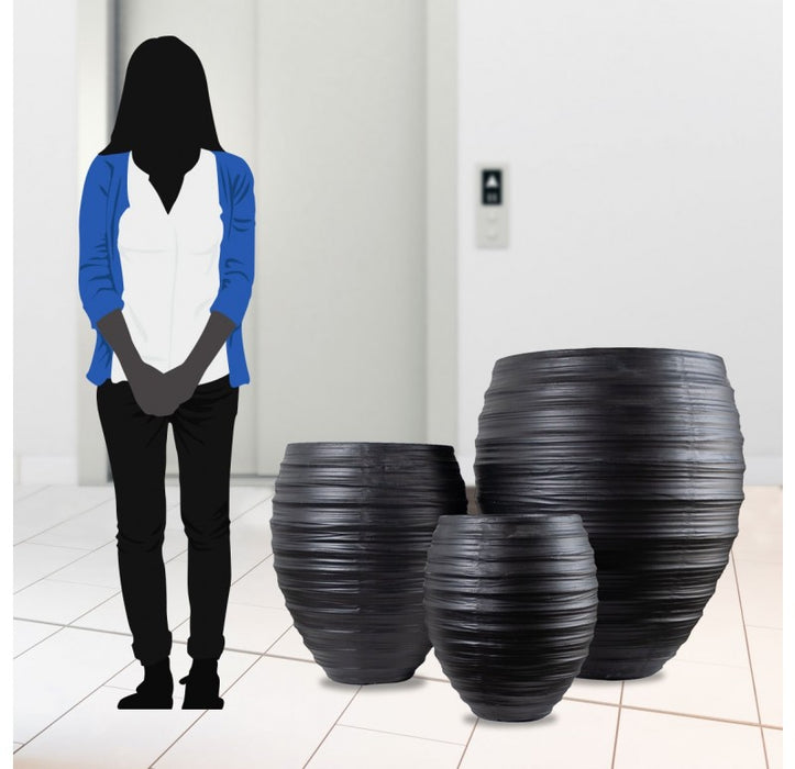 Kuro Planters (Black) - Set/3 | Gold Leaf Design | Trovati Studio