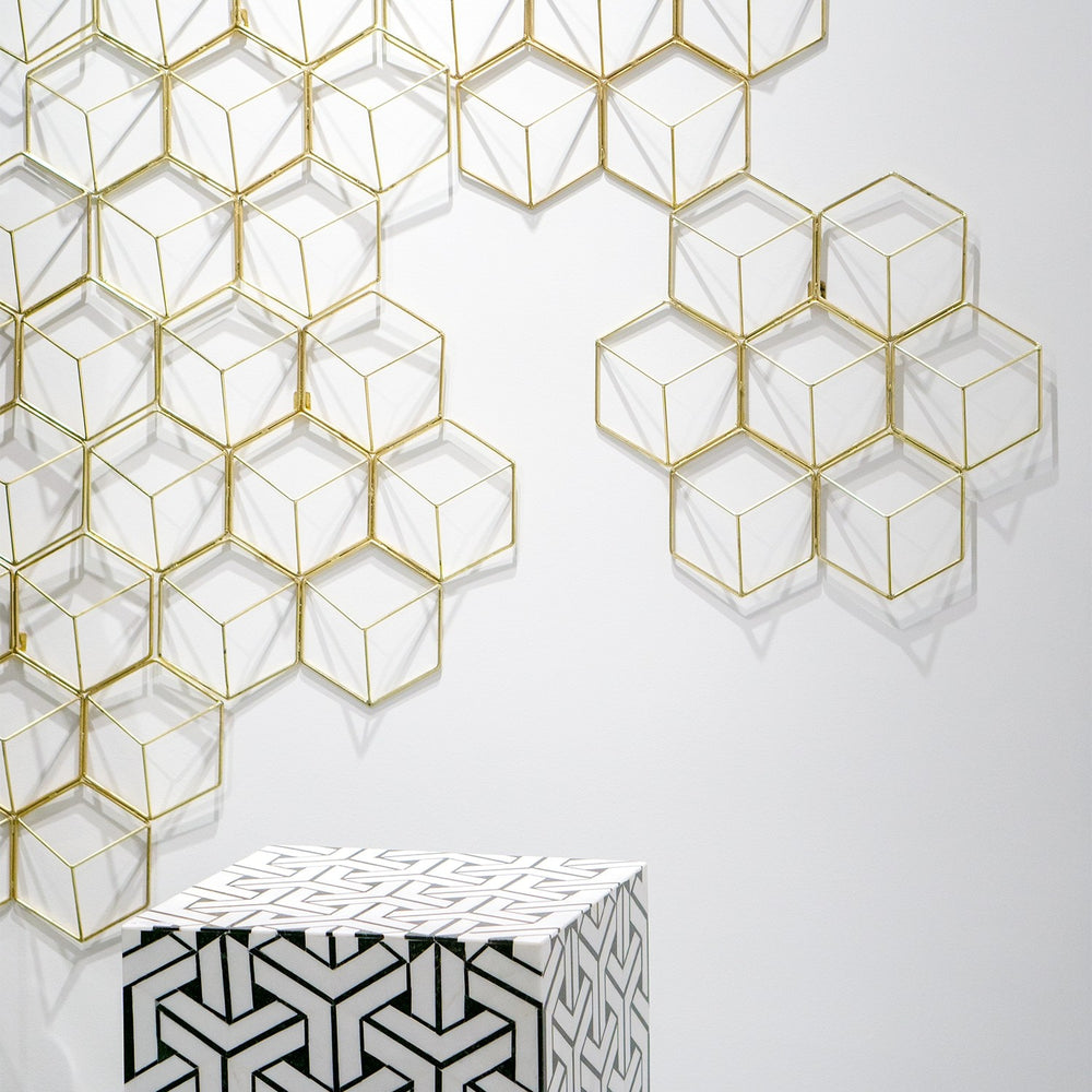 Hex Grid Wall Art | Gold Leaf Design | Trovati Studio