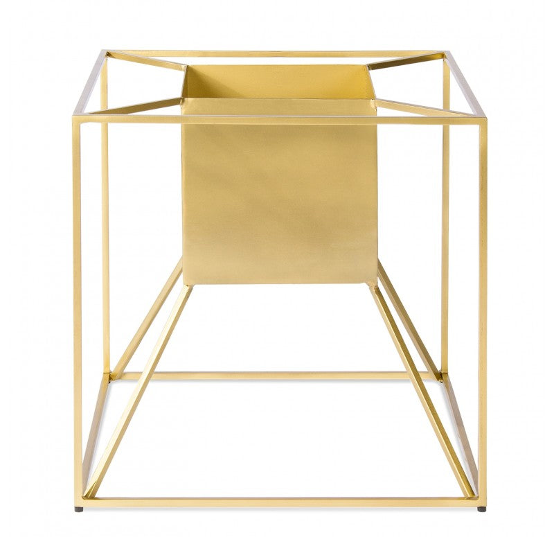 Gold Leaf Design Floating Gold Cube Planter - Trovati