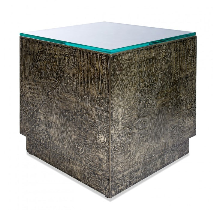 Brutalist Side Table - Gold Leaf Design - Trovati