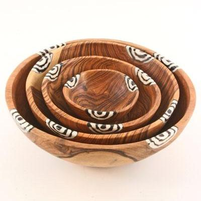Swahili African Modern Wild Olivewood Bowls with Dyed Bone Inlay S/4