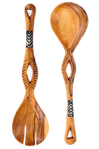 Swahili African Modern Kenyan Olive Wood Eyelet Salad Servers with Bone