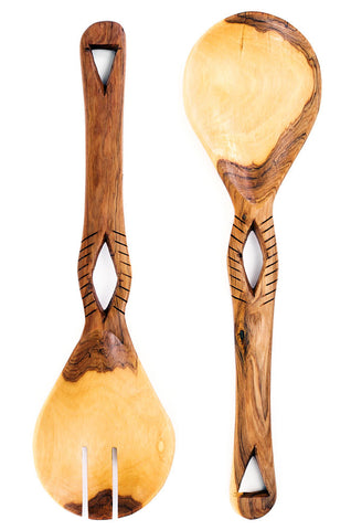 Swahili African Modern Kenyan Olive Wood Eyelet Salad Servers
