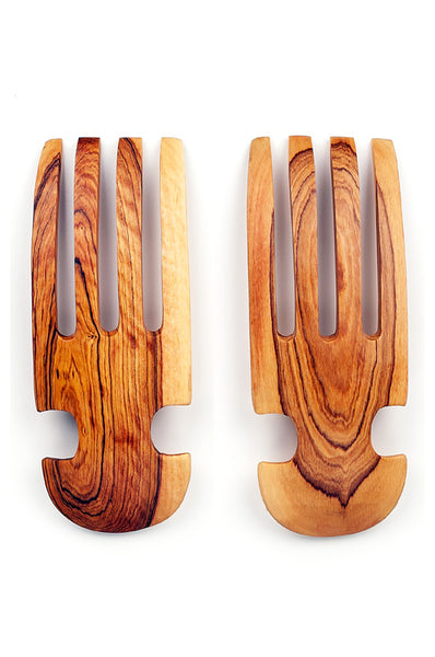 Olivewood Salad Tossing Claws (White Bone) | African | Trovati Studio