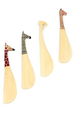 Swahili Set of Four Jacaranda Wood Safari Animal Spreaders