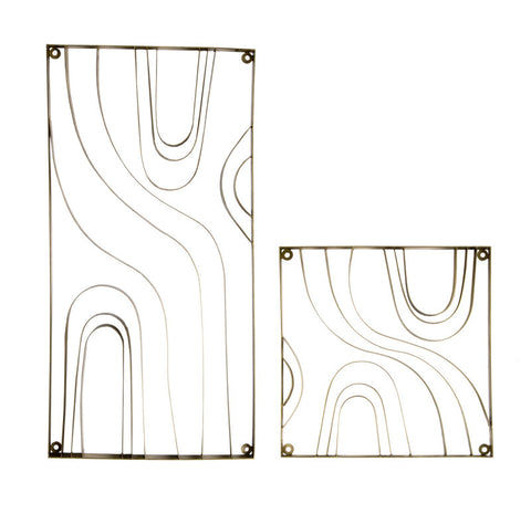 Gold Leaf Design Metal Wood Grain Panel (Sets of 2)