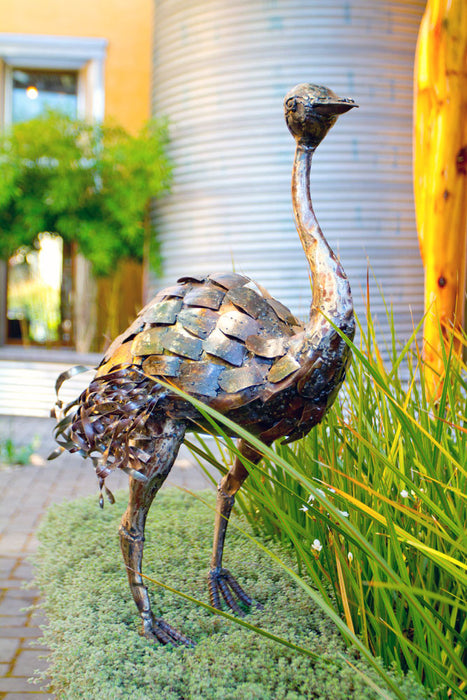 Swahili Kenyan Recycled Oil Drum Ostrich Statues  - 2