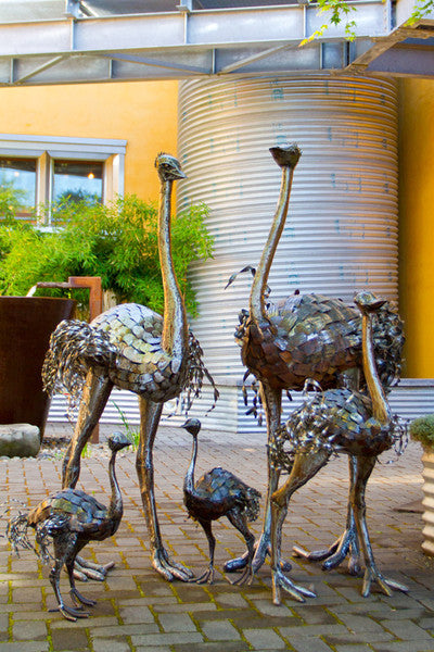 Swahili Kenyan Recycled Oil Drum Ostrich Statues  - 1
