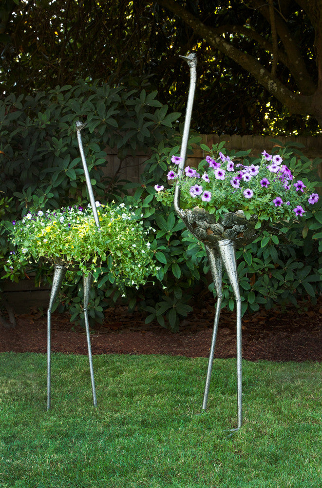 Swahili Kenyan Recycled Metal Ostrich Plant Holders  - 1