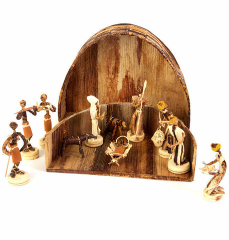 Swahili African Modern Banana Fiber Nativity Scene in Rounded Box