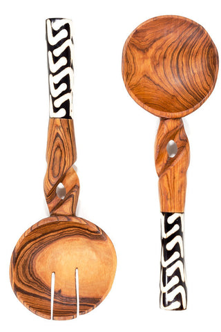 Swahili African Modern Kenyan Olivewood Salad Servers with Bone Handle