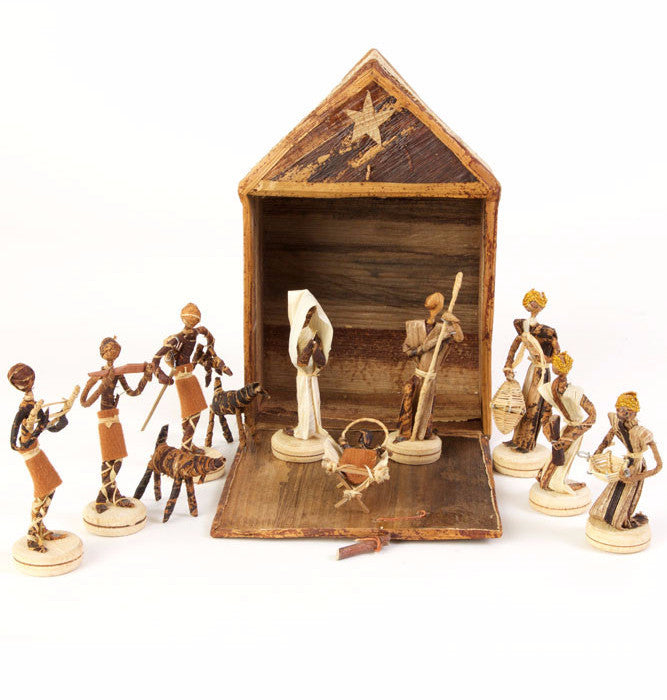 Swahili Banana Fiber Nativity Stable Set  - 1