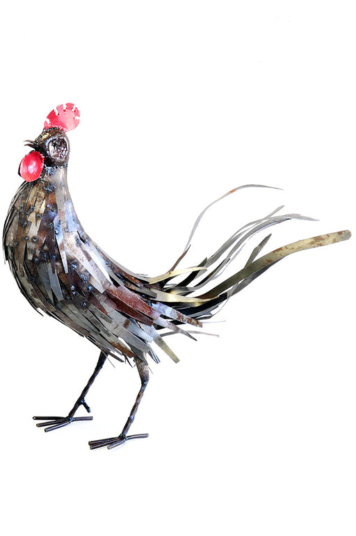 Rooster Recycled Metal Sculpture | African Sculpture | Trovati Studio