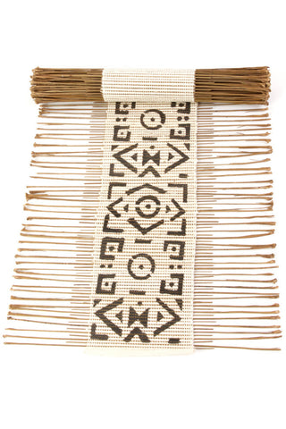 Swahili African Modern Black and White Geometric Twig Runner