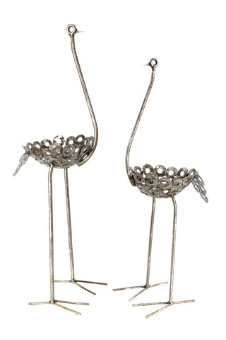 Swahili African Modern Small Recycled Metal Ostrich Plant Holder