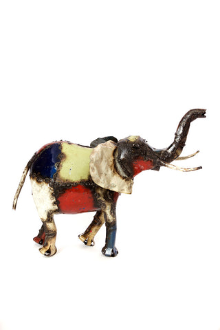 Swahili African Modern Small Colorful Recycled Oil Drum Elephant Sculpture
