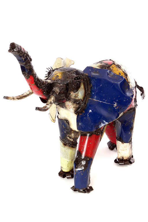 Swahili African Modern Medium Colorful Recycled Oil Drum Elephant Sculpture