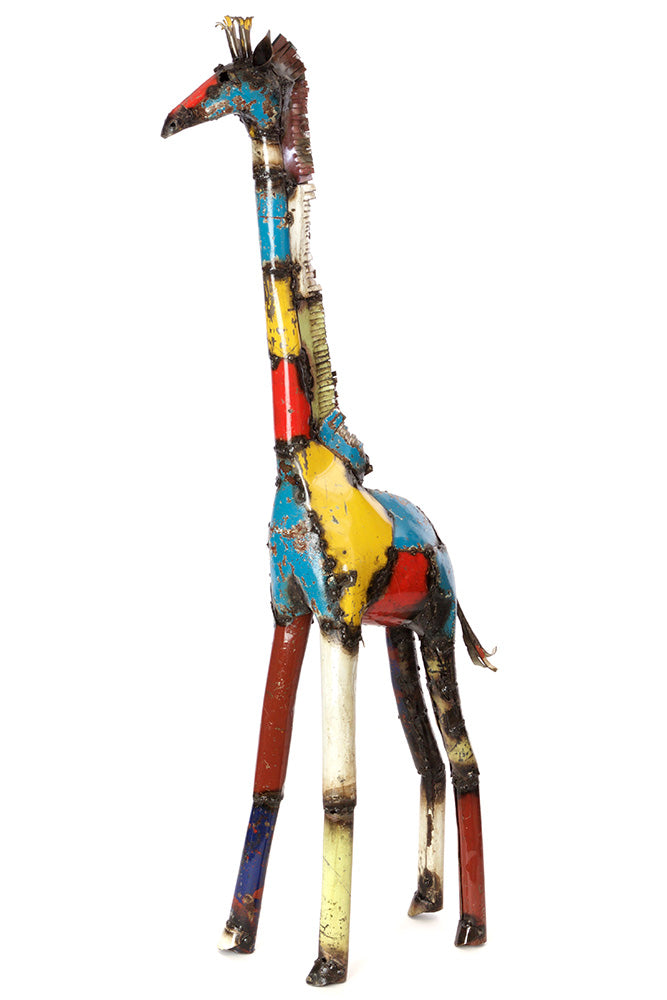 Swahili Medium Colorful Recycled Oil Drum Giraffe Sculpture - Trovati