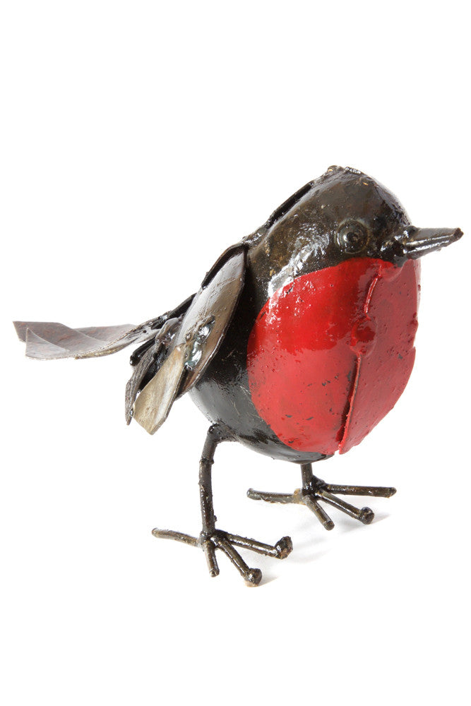 Swahili Small Recycled Metal Robin Sculpture