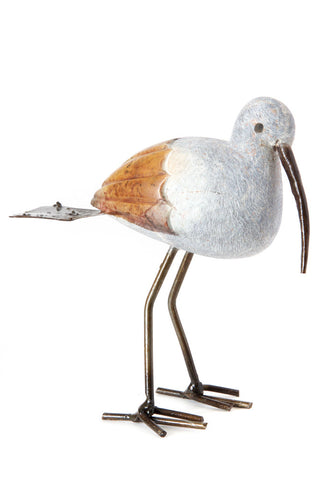 Swahili Metal and Stone Stork Bird Sculpture