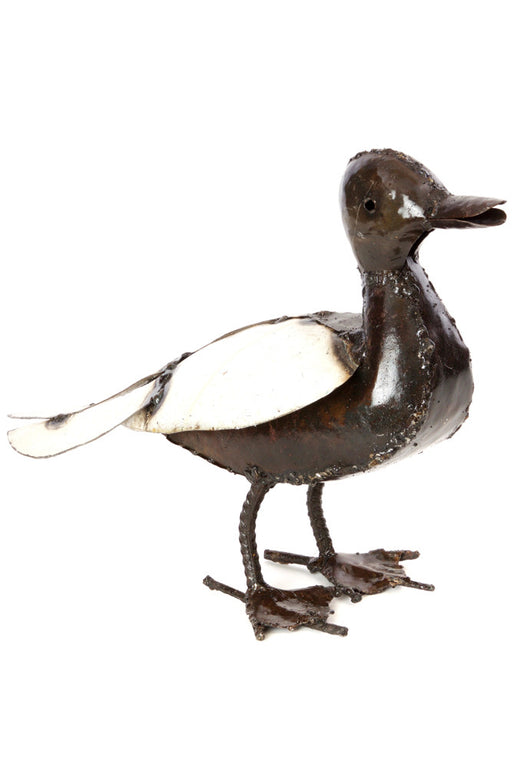 Swahili Recycled Metal Mama Duck Sculpture - Trovati