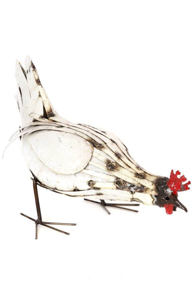 Swahili Recycled Metal Pecking Chicken Sculpture