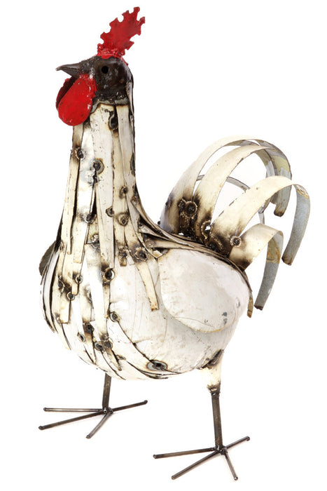 Swahili Recycled Metal Regal Rooster Sculpture - Trovati