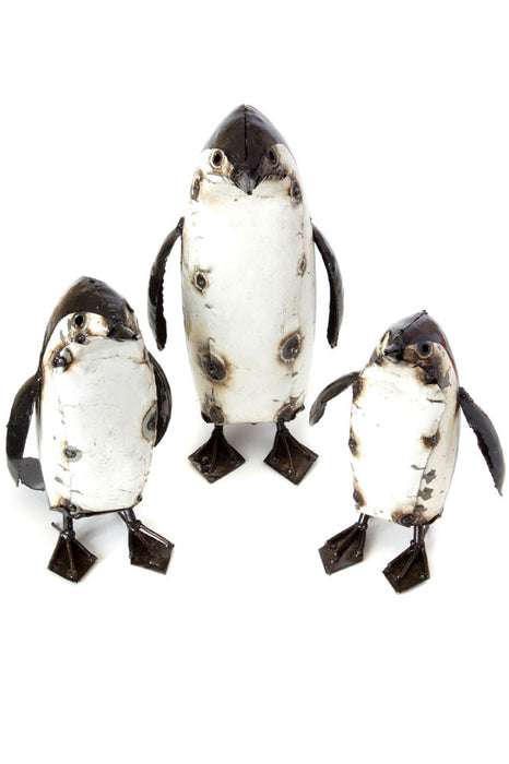 Swahili Recycled Metal Penguin Sculptures - Trovati