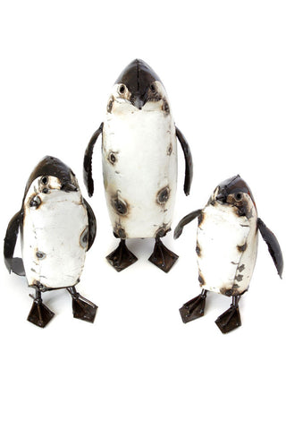 Swahili Recycled Metal Penguin Sculptures