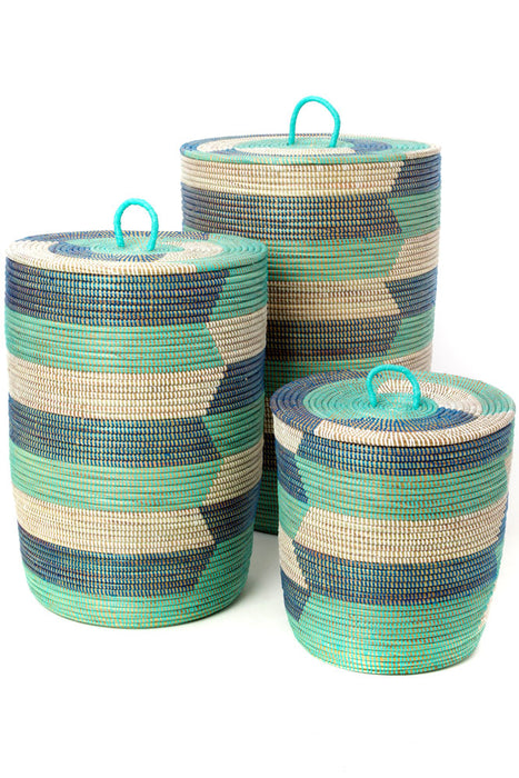 Aqua Blue Striped Hamper Baskets, S/3 | African | Trovati Studio