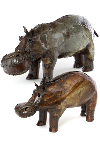 Swahili African Modern Recycled Oil Drum Hippo Sculpture-Small