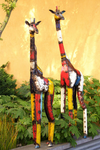 Swahili African Modern Large Colorful Recycled Oil Drum Giraffe Sculpture